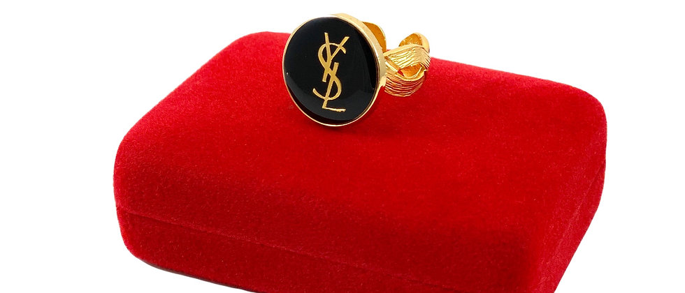 Repurposed YSL Black & Gold Woven Band Statement Ring