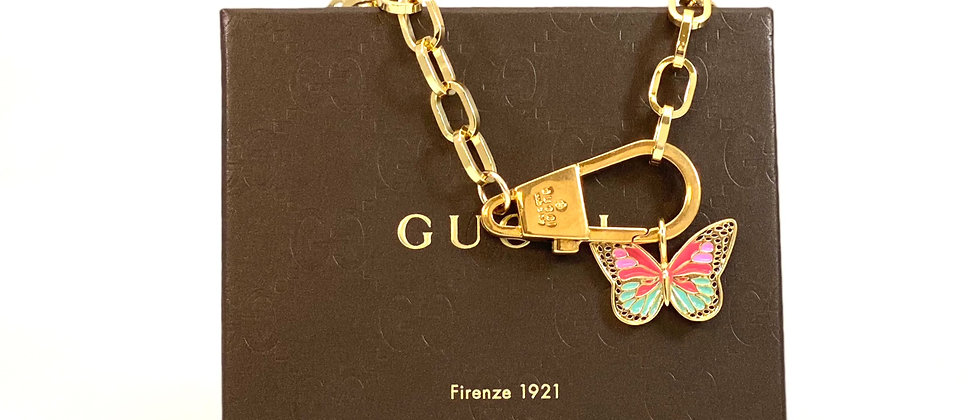 Repurposed Vintage Gucci Carabiner Choker Necklace w/Removable Butterfly