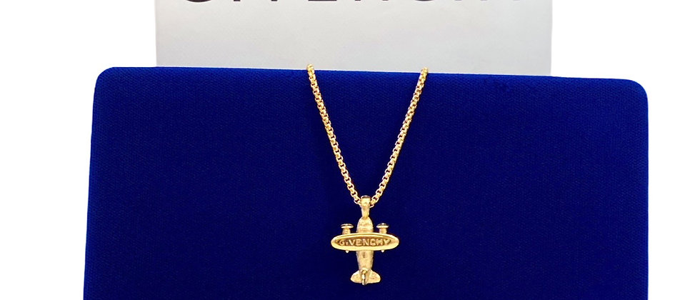 Vintage Repurposed 1980's VERY RARE Givenchy Gold Airplane Charm Necklace
