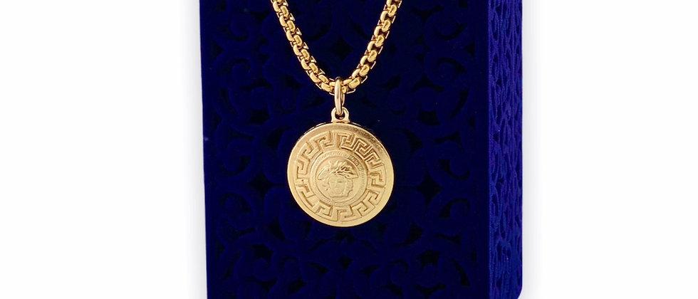 Vintage Repurposed Versace Gold Medusa Medium Charm Necklace
