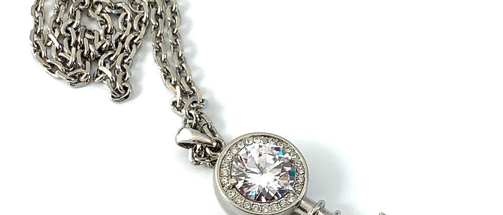 Vintage Repurposed Christian Dior Huge Silver Rhinestone Key Necklace