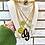 Thumbnail: Repurposed Gucci XL Black Resin G Cursive Charm Necklace