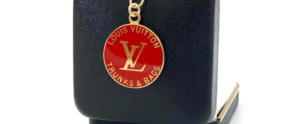 Repurposed Louis Vuitton Large Red Enameled Charm Necklace