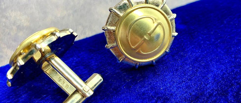Vintage Repurposed Gucci GG Gold Button Cuff Links