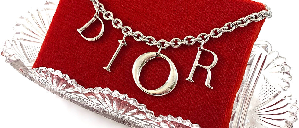 Repurposed Floating Silver Dior Letters Charm Toggle Choker Necklace