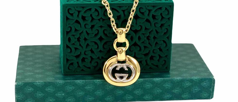 Repurposed Vintage Gucci Mixed Metals RARE Pendant Necklace