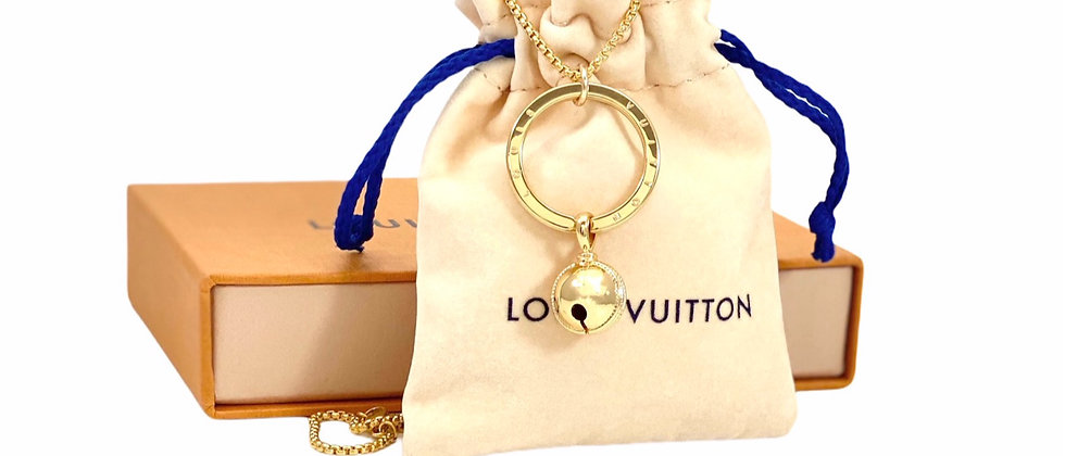 Repurposed Louis Vuitton Medium Gold Ring & Bell Charms Necklace