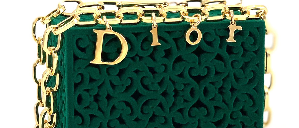 Repurposed Floating Dior Gold Letters Charm Chunky Paperclip Choker Necklace