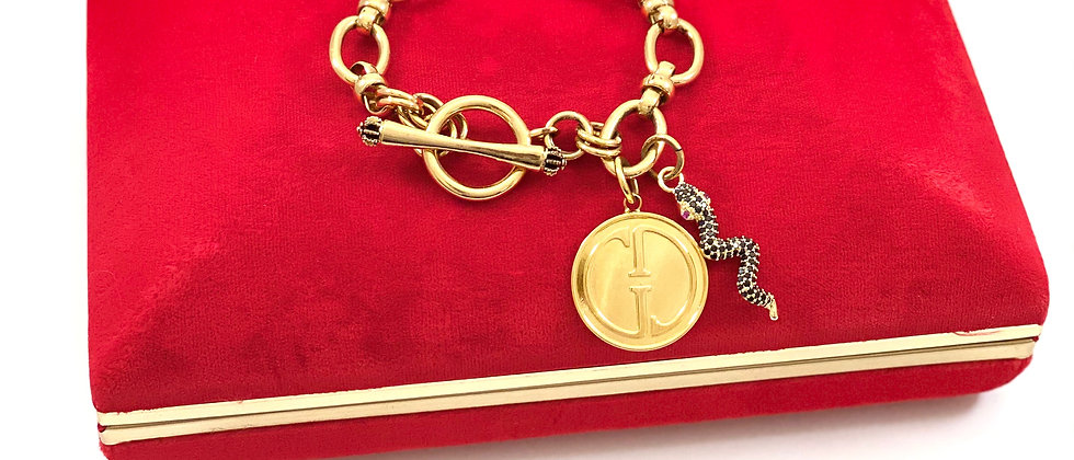 Repurposed Vintage Large Gucci & Snake Charms Toggle Bracelet