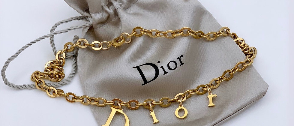 Repurposed Floating Dior Letters Charm Choker Necklace