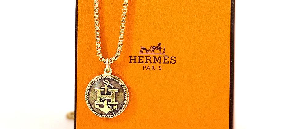"Repurposed Vintage Hermès Large Gold ""H"" Anchor Charm Necklace"