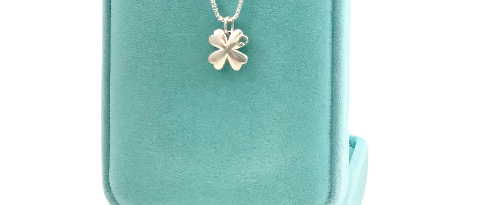 Repurposed Gucci Sterling Silver Small G Clover Charm Necklace