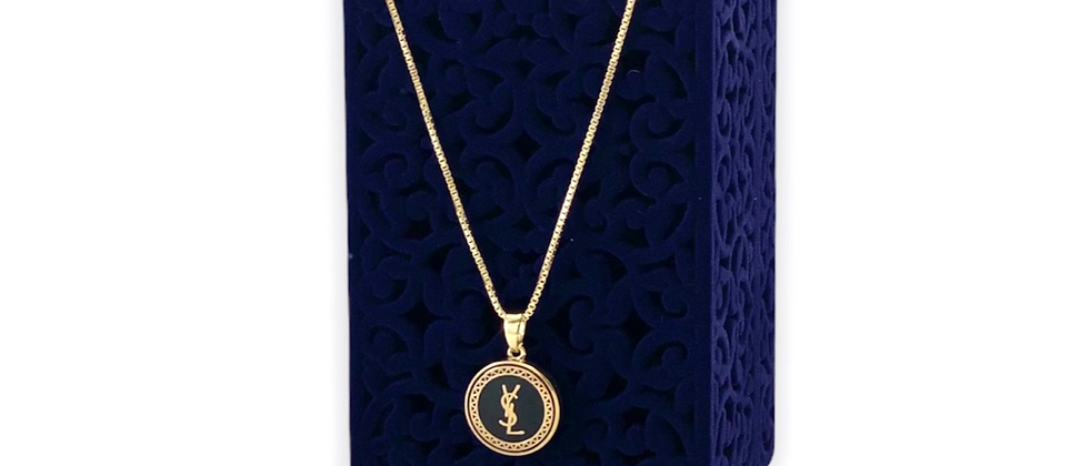Repurposed YSL Black & Gold Reversible Rainbow CZ Pave Charm Necklace