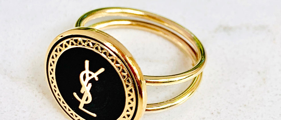 Repurposed YSL Gold Filled Double Band Adjustable Ring
