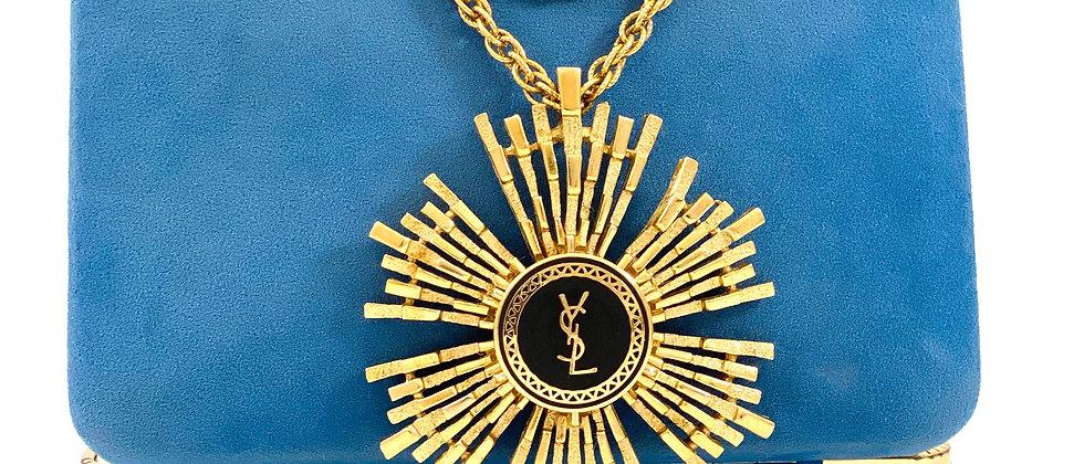 Vintage Repurposed YSL Large Gold Sunburst Long Pendant or Choker Necklace