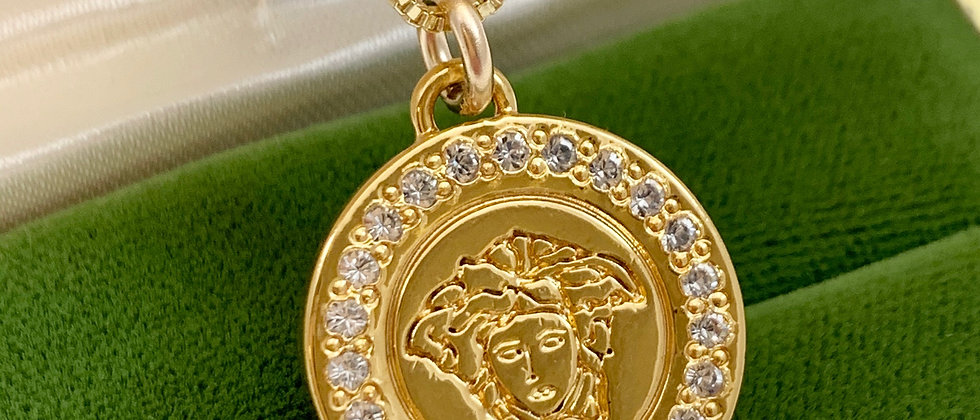 Repurposed Versace Medusa Gold & Crystal Charm Necklace