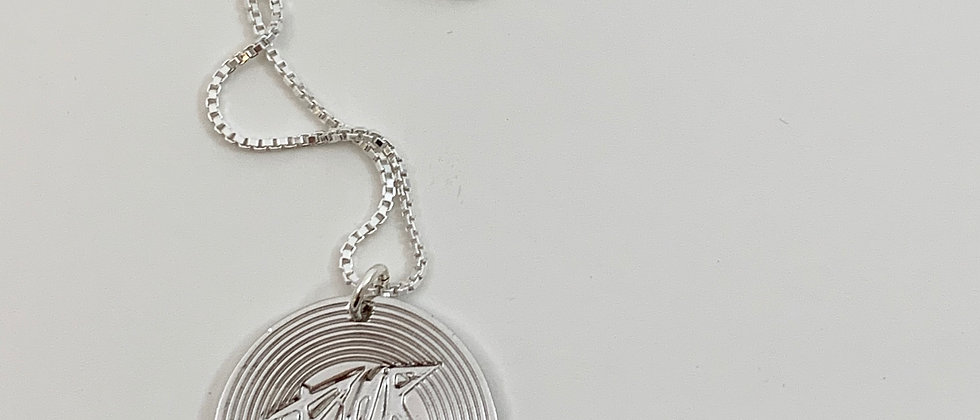 Repurposed Dior Record Charm Sterling Silver Necklace
