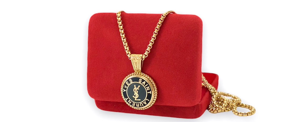 Vintage Repurposed YSL Large Black & Gold Pendant Necklace