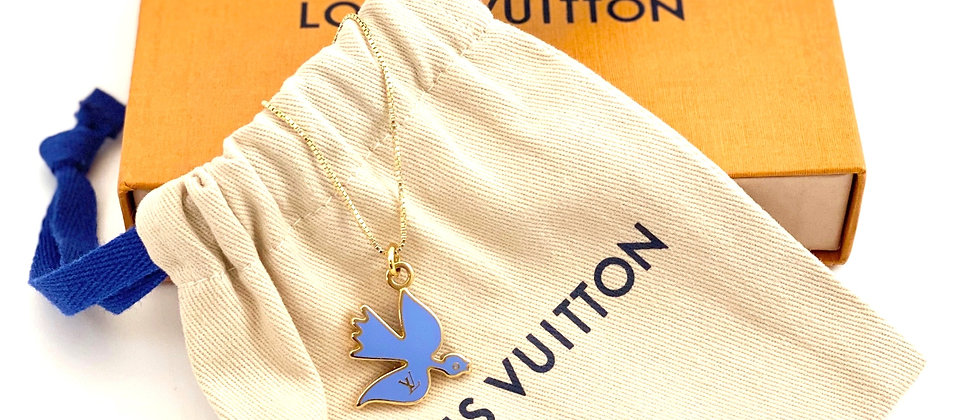 Repurposed Louis Vuitton RARE Bluebird LV Monogram Necklace