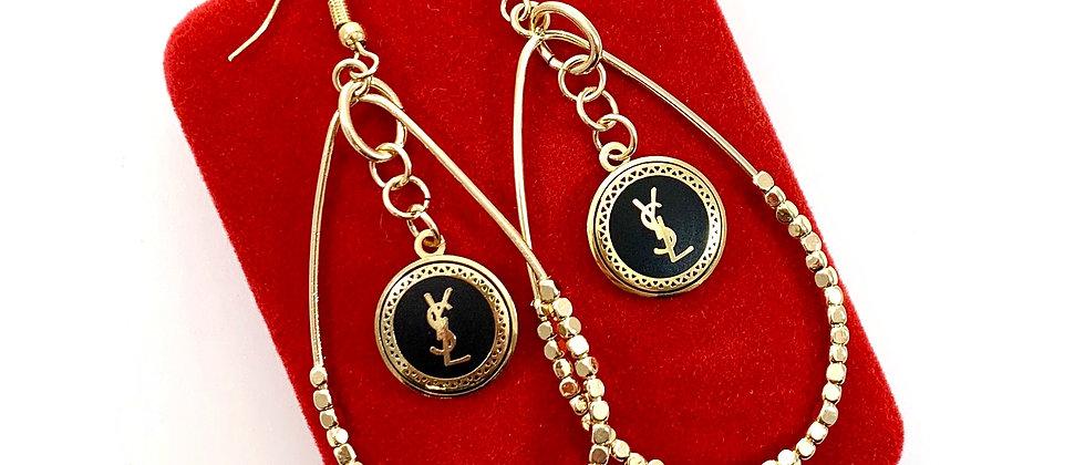 Repurposed Black & Gold YSL Wire Hook Chandelier Earrings
