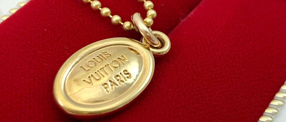 Repurposed Small Gold Louis Vuitton Paris Charm Necklace