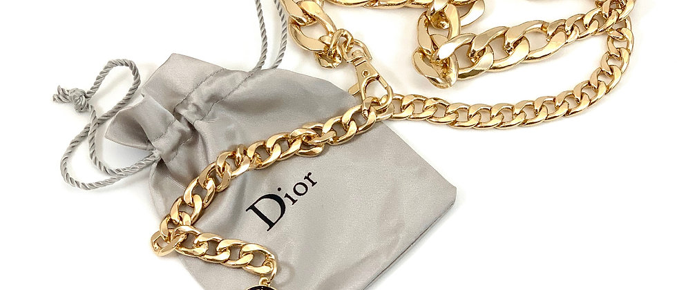 Repurposed Christian Dior Black & Gold Charm Chunky Link Chain Belt S/M