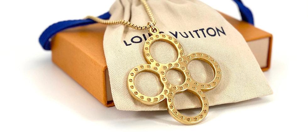 Repurposed Louis Vuitton XXL Gold Flower Charm Necklace