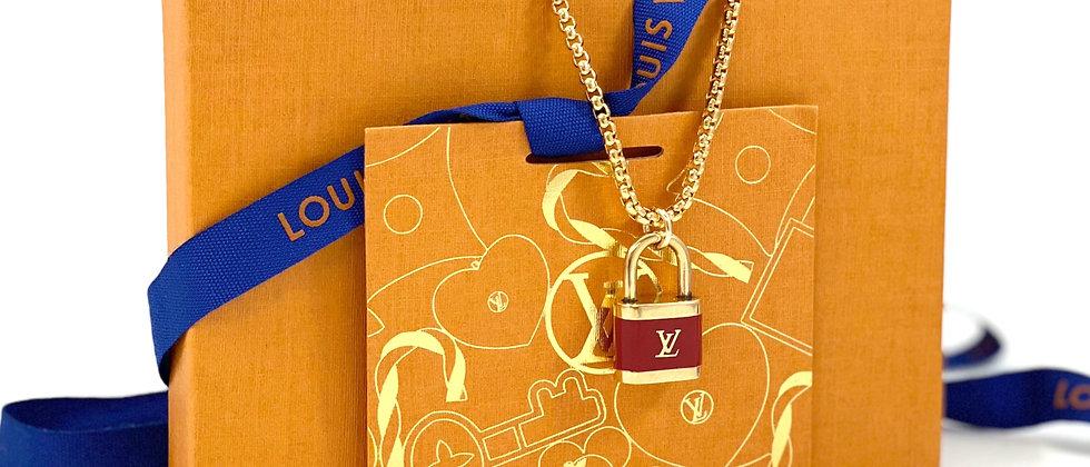 Repurposed Louis Vuitton LV Monogram Red Enameled Lock Charm Necklace