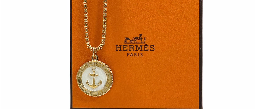 Repurposed Vintage Hermès Large Gold & White Rare Anchor Charm Necklace