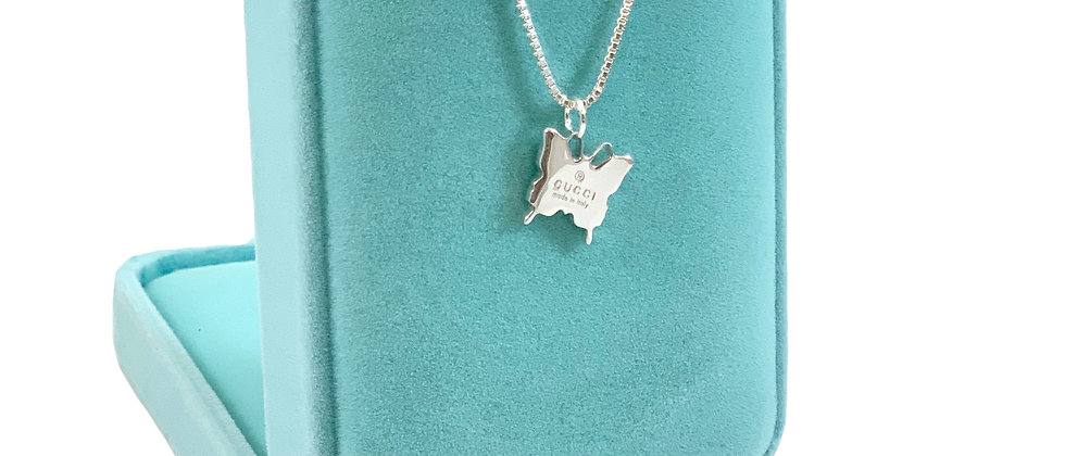 Repurposed Gucci Sterling Silver Butterfly Charm Necklace