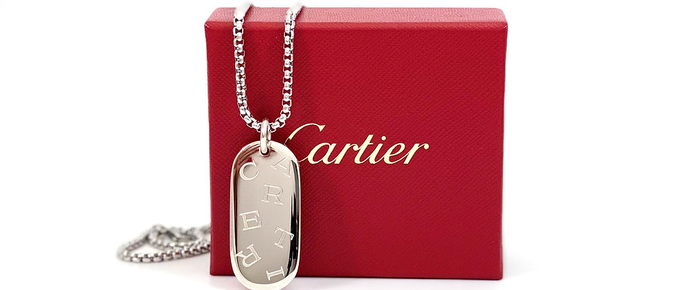 Repurposed Sterling Cartier Large Bar Logo Charm Necklace