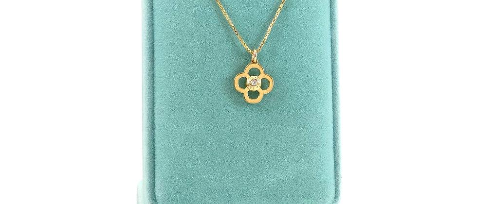 Repurposed Henri Bendel Gold Swarovski Flower Charm Necklace