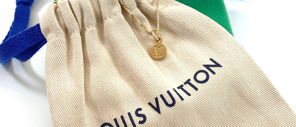 Repurposed Louis Vuitton Petite Gold LV Monogram Charm Necklace