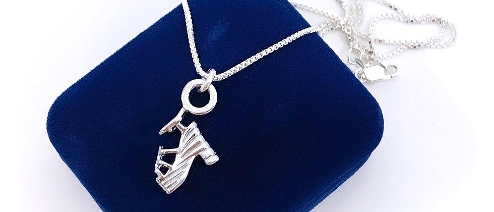 Repurposed Salvatore Ferragamo Iconic Silver Shoe Charm Necklace