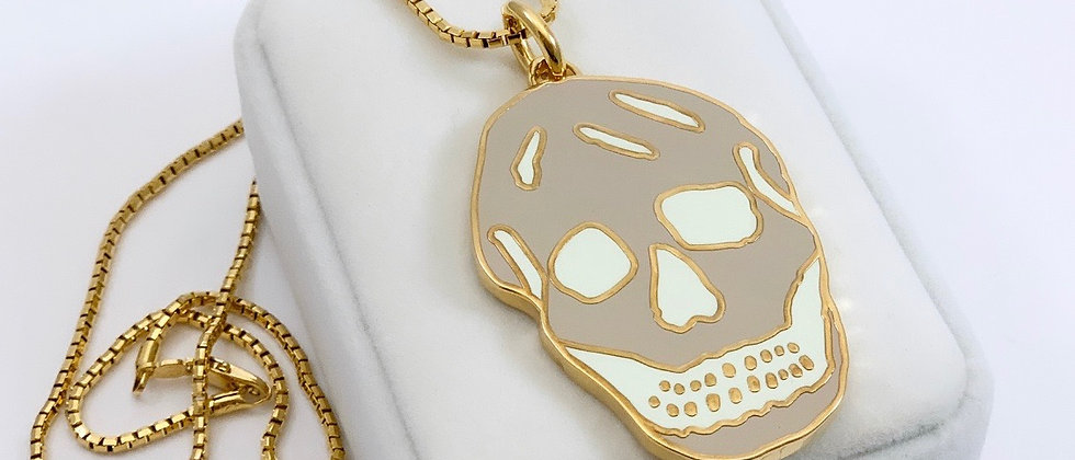 Repurposed Alexander McQueen Gold & Khaki XL Skull Necklace