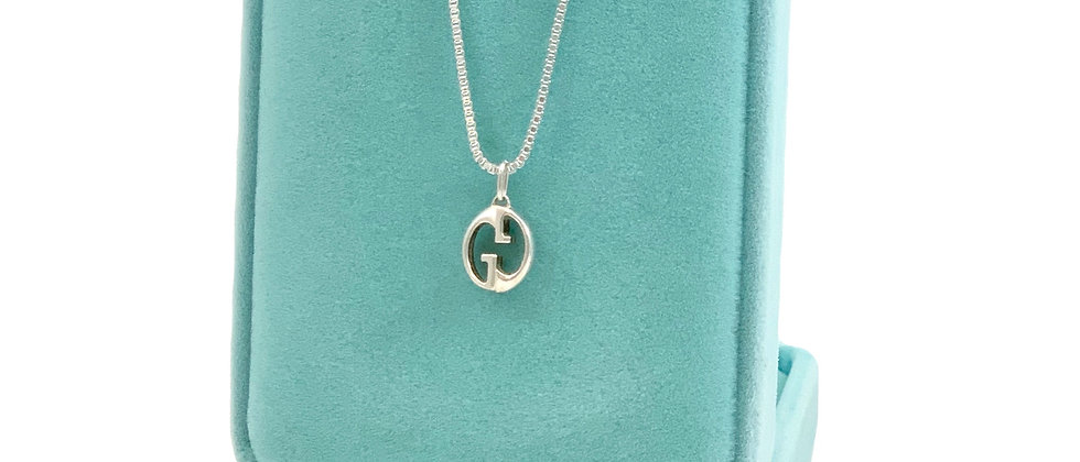 Repurposed Gucci Sterling Silver Small GG Logo Charm Necklace