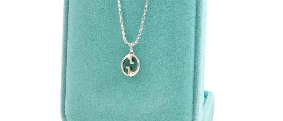 Repurposed Gucci Sterling Silver Small GG Logo Charm Necklace