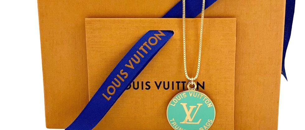 Repurposed Louis Vuitton Large Aqua Enameled Very Rare Charm Necklace
