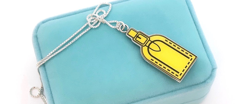 Repurposed Louis Vuitton Dbl Sided Stories Luggage Tag Sterling Necklace