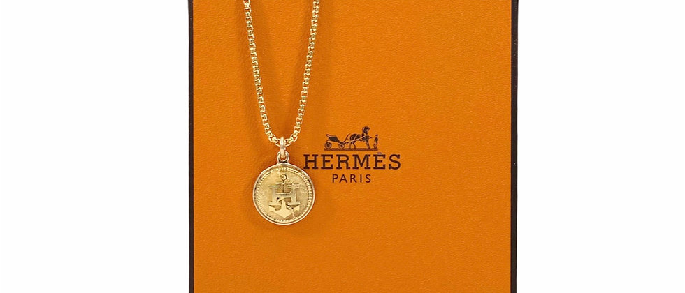"""Repurposed Vintage Hermès Small Gold """"H"""" Anchor Charm Necklace"""