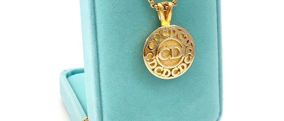 Vintage Rare 1990's Repurposed Gold Christian Dior CD Monogram Pendant Necklace