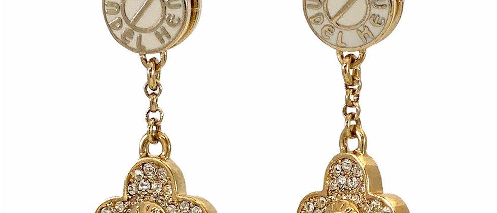 Repurposed Henri Bendel NY Swarovski Crystal & Enamel Earrings