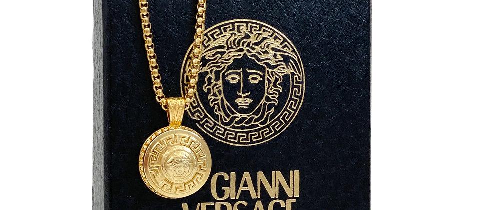 Vintage Repurposed Versace Gold Medusa Medium Pendant Necklace