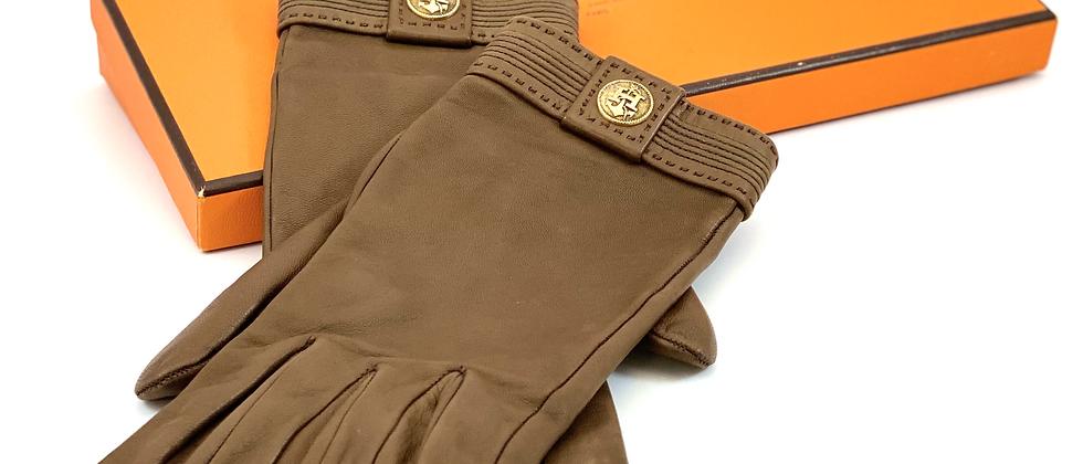 Vintage Repurposed Hermès H Brown Leather Gloves & Original Box