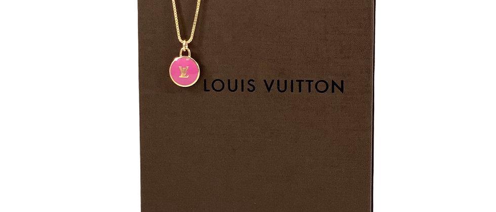 Repurposed Louis Vuitton Pink & Gold LV Monogram Pastilles Charm Necklace