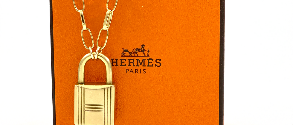 Vintage Repurposed Hermès Padlock Paperclip Choker Necklace