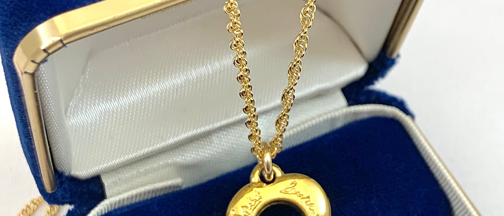 Vintage Repurposed YSL Script Small Gold Heart Charm Necklace