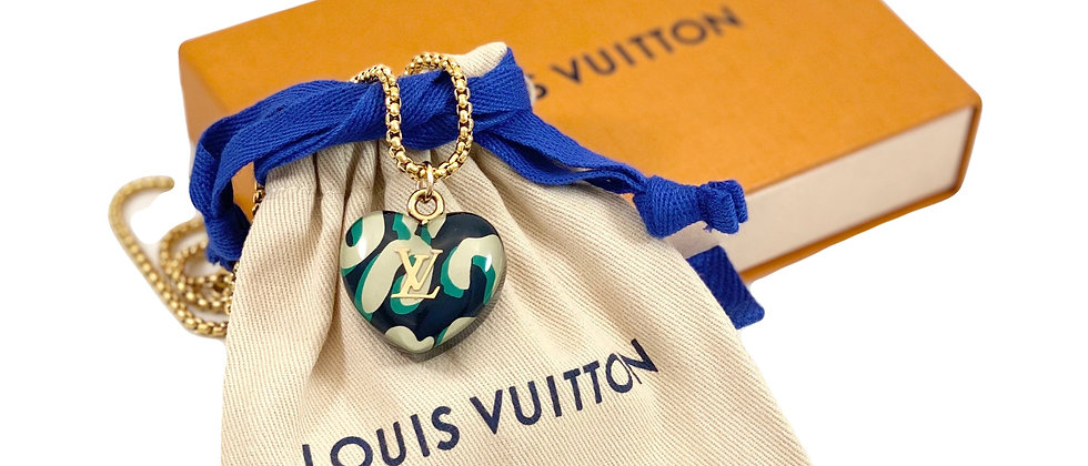 Repurposed Louis Vuitton Green Leopard Large Heart Necklace
