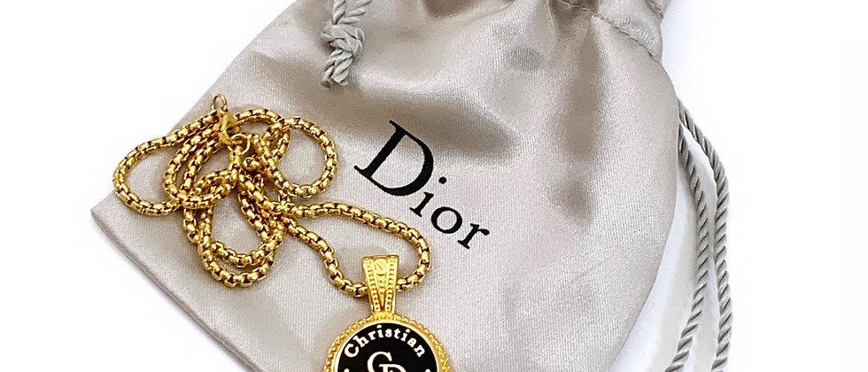 Vintage Repurposed Christian Dior CD Black & Gold Pendant Necklace