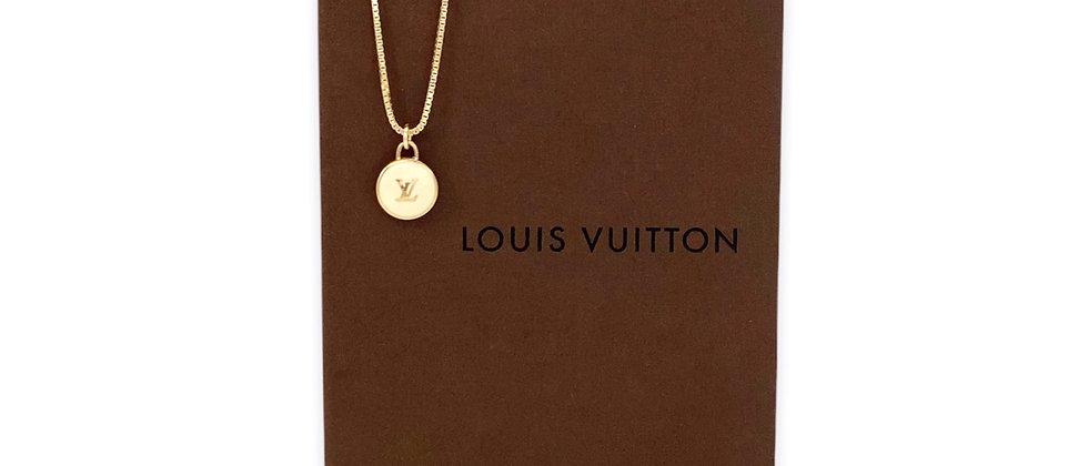 Repurposed Louis Vuitton White & Gold LV Monogram Pastilles Charm Necklace